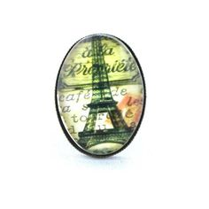 Ring  Eiffel Tower with text in Oval shape by timegemstone on Etsy, £5.99