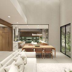 Residência A\L - Sala TV\Estar | Jantar | Cozinha | Gourmet | Piscina . . . . . Mais uma dessa Residência Unifamiliar de 296m2 de área construída, em um terreno de 372m2.  Mostrando como foi valorizado a integração entre as áreas sociais e de lazer.  Projeto: @alexsandro.arq 3D: @alexsandro.arq Conference Room, 3d, Table, Furniture, Home Decor, Gourmet Cooking, Dining, Swiming Pool, Tv Rooms