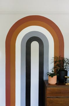 70's Style Arch Mural - Oleander + Palm