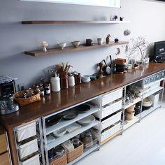 Kitchen Shelves, Kitchen Reno, Kitchen Storage, Kitchen Dining, Kitchen Cabinets, Commercial Kitchen Design, Freestanding Kitchen, Space Interiors, House Rooms
