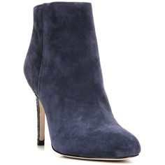 Sam Edelman Kourtney Suede Booties ($78) ❤ liked on Polyvore featuring shoes, boots, ankle booties, navy blue, suede leather boots, navy blue suede booties, sexy boots, navy suede booties and navy blue boots