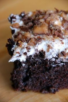 Bunco Cake: 1 box chocolate cake mix (+ whatever it calls for on the back) , 1 can sweetened condensed milk , 1 jar hot fudge sauce , 1-8 oz container of cool whip , 4 Skor* Bars, crushed (or Heath Bar)