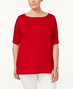 56a6dd94bf065 Karen Scott Plus Size Cuffed T-Shirt New Red Amore 3X  KARENSCOTTW  Other