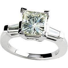 3 carat princess cut diamond ring | Divine 3 Carat Princess Cut Moissanite Baguette Diamond Ring 14k White ...