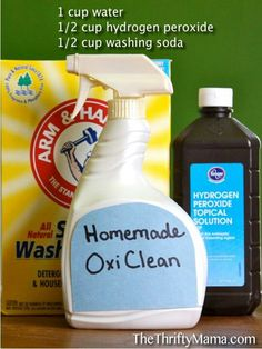 Laundry Stains: Eco-Friendly Remedies like All-purpose, Homemade Oxiclean and Laundry Brightener Homemade Cleaning Products, Cleaning Recipes, House Cleaning Tips, Natural Cleaning Products, Cleaning Hacks, Cleaning Supplies, Baking Supplies, Green Cleaning, Spring Cleaning