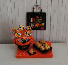 Miniature Halloween Basket Of Swirl Lollipops, Whoopie Pies With Orange Icing and Wall Hanging