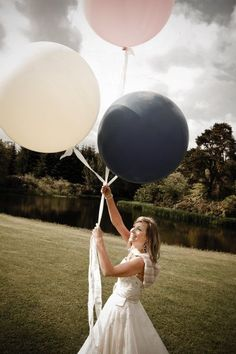 Balloons and Weddings! This picture is perfect for me!    Photography by www.archibaldphotography.co.uk