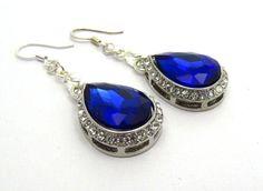 Sapphire Blue Crystal Bridal Earrings Blue Drop by crystaljemscouk