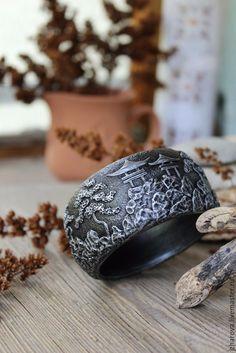 Купить Браслет широкий из полимерной глины Япония - браслет, браслет полимерная глина, браслет широкий