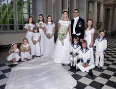 Crown Princess Victoria of Sweden and Prince Daniel, Duke of Vastergotland pose after their wedding with bridesmaids and page boys (L-R) Vera Blom, Catharina Amalia, Giulia Sommerlath, Princess Ingrid Alexandra of Norway, Vivien Sommerlath, Madeleine von Dincklage, Leopold Sommerlath, Ian De Geer and Prince Christian of Denmark in Storkyrkan Church on June 19, 2010 in Stockholm, Sweden.