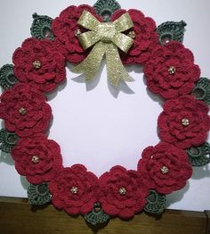 me ~ Pin on Wreaths ~ Crochet christmas tree wall hanging 69 Ideas for 2019 Crochet Christmas Wreath, Crochet Wreath, Crochet Christmas Decorations, Christmas Crochet Patterns, Holiday Crochet, Crochet Flower Patterns, Diy Christmas Tree, Crochet Gifts, Crochet Flowers