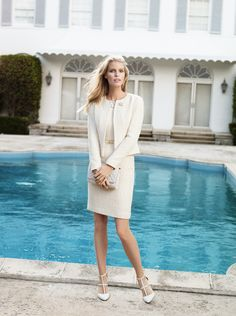 Brooks Brothers women's embroidered boucle dress and jacket pair with our patent leather belt and quilted leather bag.