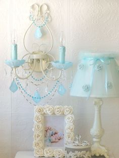 Exquisite Double Light Wall Sconce...Milky Opal Aqua Blue Crystals