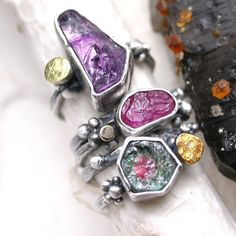Candy Rings  Amethyst and Pink Sapphire by studio94