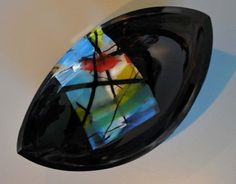"""Window View 28e  5""""x9""""x3"""". kilnformed and coldworked.  Pointed oval dish. ©Linda Humphrey / KilnForms."""