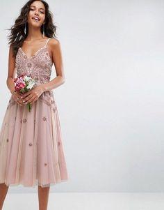 ASOS WEDDING Iridescent Delicate Beaded Strappy Midi Dress
