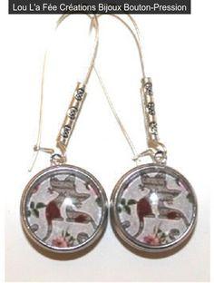 """boucles d'oreilles boutons-pression """"chats"""", grandes dormeuses : Boucles d'oreille par lou-l-a-fee-creations-bijoux-bouton-pression"""
