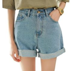 New Spring Summer Women Denim Shorts Korean Style High Waist Roll Up Loose Jeans Shorts Casual Hot Shorts shorts shorts outfits Hotpants Jeans, Mom Jeans Shorts, Hot Shorts, Jean Shorts, Summer Shorts, Baggy Shorts, Chino Shorts, Nike Shorts, Bermuda Shorts