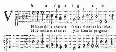 "Here is an early written-down chacona, Juan Arañés's ""Un sarao de la chacona"" (p. 23; first edition above)"