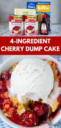 OBSESSED with this super simple cake mix dessert! With only 4 ingredients you'll be wishing it was summer all year long! OBSESSED with this super simple cake mix dessert! With only 4 ingredients you'll be wishing it was summer all year long! Cake Mix Desserts, Cherry Desserts, Delicious Desserts, Yummy Food, Dump Cake Cherry, Crockpot Cherry Dump Cake, Homemade Desserts, Yummy Treats, Sweet Treats