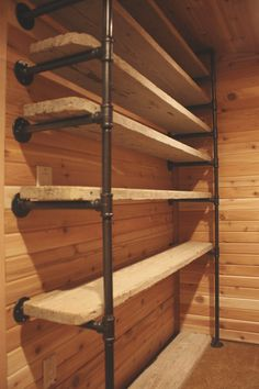 Shelves My Sweet Savannah: ~industrial pipe closet system~ Selecting the Perfect Area Rug The right Industrial Pipe Shelves, Industrial House, Industrial Closet, Rustic Closet, Industrial Kitchens, Pipe Shelving, Industrial Table, Pipe Closet, Closet Rod