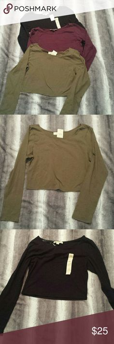Bundle of 3 Long Sleeve Cropped Shirts NWT Brand new, smoke-free and pet-free home, 95% cotton, 5% spandex, 17 inches long, 18 inches from armpit to armpit with stretch, black, burgundy & olive green Tops Crop Tops