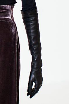French Long Glove - Black Calfskin | Emerson Fry