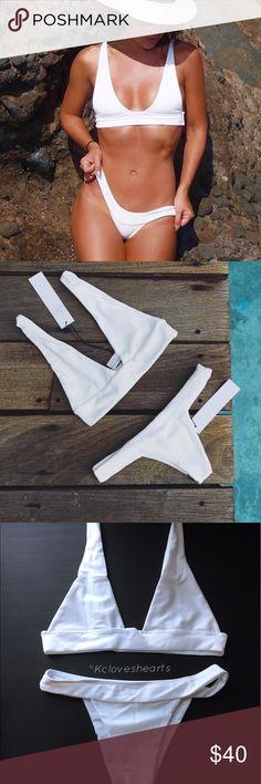 White Brazilian Bikini Medium: underbust 28/29in & bottoms best fits a 27/28in hip. (Runs like a small)                                           •Top is unpadded & price is firm unless bundled• Swim Bikinis