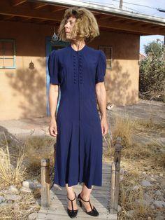 Vintage 1930s Blue Crepe Dress 2013288 by bycinbyhand on Etsy, $115.00