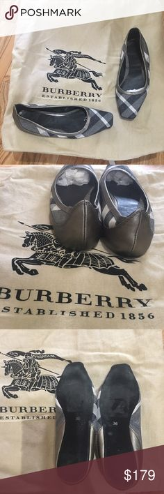 Burberry ballerinas grey, white and charcoal check canvas with platinum leather trim and sparkled through. Squared toe. Love them but they are just a bit to small for me. Size 36. No box or bag. GREAT CONDITION ONLY SIGNS OF WARE are bottom of sole is a tiny bit dirty. Otherwise perfect. Burberry Shoes Flats & Loafers