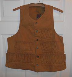 1920's 12 Gauge Shotgun Hunting Vest Large Size 42 Cotton Duck