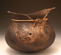 "Ric Romano, ""Ancient Olla"" Elm. scorched, bent wood, resin"