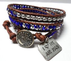 I Love My Airman Bracelet Air Force Triple by JennyPennyCreations, $50.00