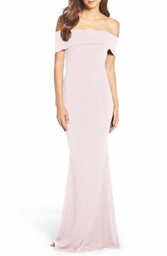 Katie May Crepe Off the Shoulder Gown
