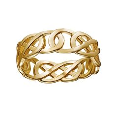 14k Gold Over Silver Openwork Celtic Knot Wedding Band, Adult Unisex, Size: 11, Yellow