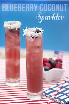 The PERFECT 4th of July Cocktail! Blueberry Coconut Sparkler!