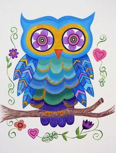 Owl Wall Art for Girls / Kids Wall Art Owl Nursery Painting (not a print) - Whimsical Owl