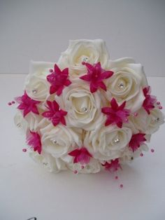 hot pink wedding bouquets   Artificial Ivory Roses and Hot Pink Wedding Flowers Posy Bouquet by yolanda