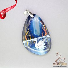 HAND PAINTED SWAN PENDANT FOR NECKLACE GEMSTONE WITH SILVER BAIL ZL807558 #ZL #Pendant