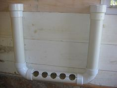 3838615682116216618846 Great homemade PVC pipe feeder for the chicken coop! Food funnels in from both ends.