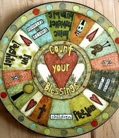 "Things With Wings: ""Count Your Blessings"" lazy susan, This Thing Called Family China Painting, Tole Painting, Wood Projects, Projects To Try, Class Projects, Sticks Furniture, Pintura Country, Lazy Susan, Primitive Crafts"