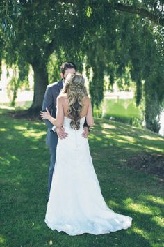 A private moment beneath the willows at Langdon Farms Golf Club. Read More: http://www.stylemepretty.com/2014/10/10/rustic-americana-wedding-in-oregon-at-langdon-farms-golf-club/ http://www.langdonfarms.com/portland-wedding/   Portland Wedding Venues   PDX Weddings   Barn Weddings   Rustic Weddings  