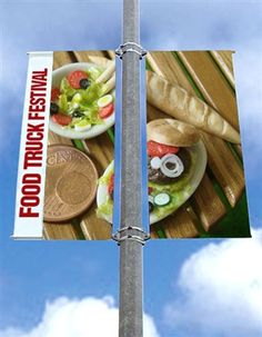Street Pole Banner Brackets Double Set with x Vinyl Banners Pole Banners, Vinyl Banners, Street Banners, Food Truck Festival, Printing On Fabric, Church Design, Arches, Exhibit, Signage