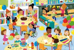 Praatplaat: feest People Illustration, Illustration Sketches, Character Illustration, Sequencing Cards, Writing Pictures, Picture Composition, Baby Images, Kid Character, Cartoon Pics
