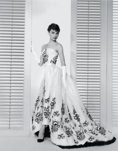 Audrey Hepburn in the film Sabrina wearing a Givenchy designed gown, 1953. Image…
