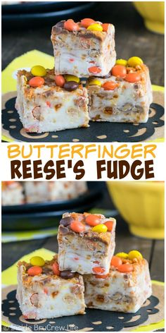 This white chocolate fudge is a great way to use up those extra Butterfinger bars and Reese's Pieces. It's a great gift idea for the holidays!