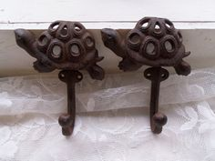 PAIR Rustic Turtle Wall Mounted Hooks Keys Coats Towels Sturdy Cast Iron Aquatic Reptile Terrapin Tortoise via Orphaned Treasures Etsy