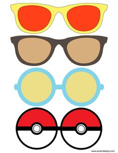 Glasses from Pocket Monster X Y Pokemon Inspired Printable Photo Booth Prop Set Pikachu Pokemon Go, Pokemon Craft, Pokemon Printables, Pokemon Photo, Photobooth Props Printable, Lights Camera Action, Pokemon Birthday, Photo Booth Props, Printable Designs