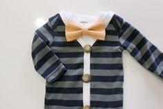 Baby bowtie cardigan onesie #trendy #babyFashion #etsy baby boy clothes