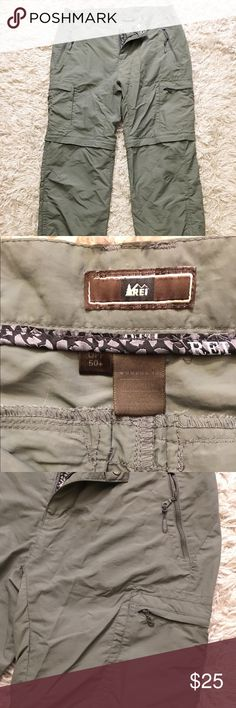 REI Outdoor Women's convertible pant. Size 12 Super durable, breathable, and light weight outdoor green khaki. Great condition - like new. Lower pant leg zips off and on easily. Lots of pockets to stash supplies. UPF 50+ REI Pants